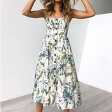 Summer Floral Print Strap Casual Button Midi Dress with Pockets