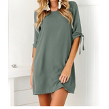 Solid Loose Dresses Half Sleeved