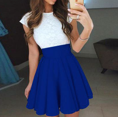 O-neck Short Sleeve Patchwork Draped Mini Dress