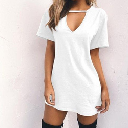 Dresses Deep V-Neck Short Sleeve