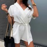 Short Sleeved Belt V-Neck Chiffon Jumpsuit