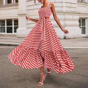 Striped Summer Dresses Women Strapless Long