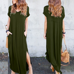 Load image into Gallery viewer, Pocket Short Sleeve Split Loose Maxi Dress