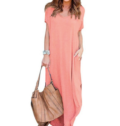 Pocket Short Sleeve Split Loose Maxi Dress