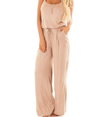Summer Solid Sleeveless Wide Leg Jumpsuit