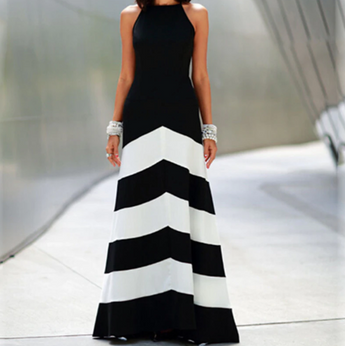 Striped Stitching Slim Maxi Dress Party