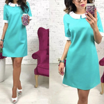 Load image into Gallery viewer, Short Sleeve Solid Collar Mini Dress