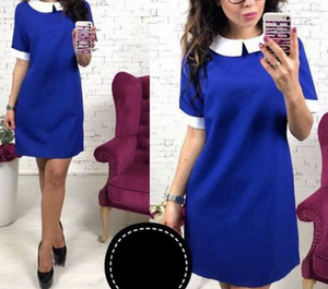 Short Sleeve Solid Collar Mini Dress