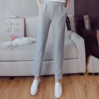 Striped Pants Elastic Waist Strip