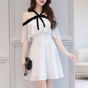 Chiffon mini dress ruffles short sleeve