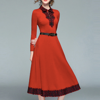 Sweet Patchwork Lapel Lace Dress Long Sleeve