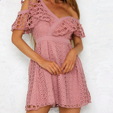Vintage Lace Mini Pink Dress