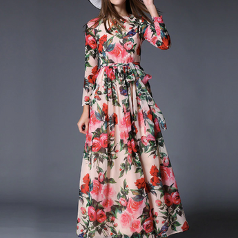 Chiffon Long Dress Rose Floral Overlay Print