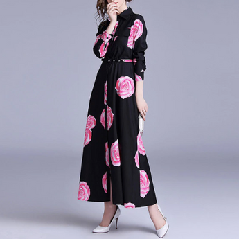 Turn-Down Collar Long Sleeve Rose Printed Dress