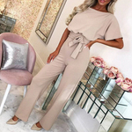 Load image into Gallery viewer, Round Neck Long Jumpsuit