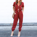 Chiffon Short Sleeve Jumpsuit