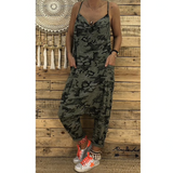 Jumpsuits Camouflage Print Sleeveless Military