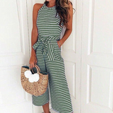 Summer Sleeveless Striped Jumpsuit