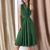 Vintage Sleeveless Dress V Neck Sashes Long