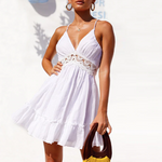 Load image into Gallery viewer, Women Crochet Lace Ruffle Beach Dresses