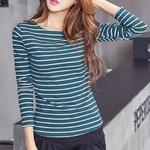 Load image into Gallery viewer, Long Sleeve O-Neck Striped T-Shirt