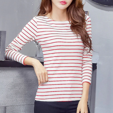 Long Sleeve O-Neck Striped T-Shirt