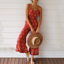 Floral Beach Jumpsuit Romper Wide Leg Trousers