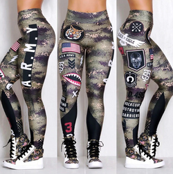 Army Printed Leggings Elastic