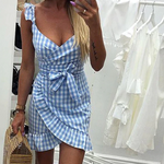 Load image into Gallery viewer, Plaid Dress Backless Wrap