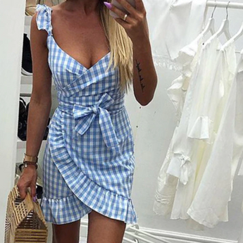Plaid Dress Backless Wrap