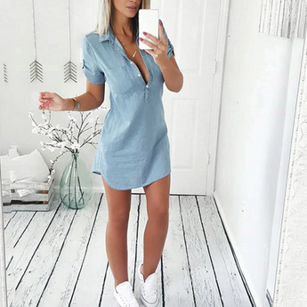 Summer Jeans Dress Short Sleeve
