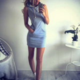 Slim Casual Hooded Sleeveless Pocket Dress