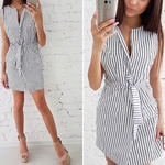 Load image into Gallery viewer, Women's Striped Print Dress