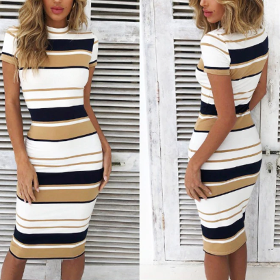 Striped Vintage Midi Dress