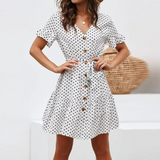 Dress Casual Short Sleeve Polka