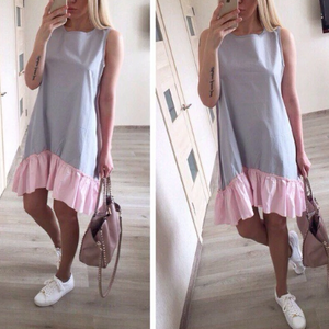 Casual Loose Patchwork Mini Dress