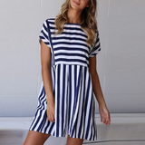 Dress Striped Short Sleeve O-Neck