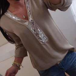 Solid Sequin Patchwork Shirts