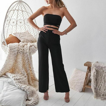 Strapless Backless Hollow Out Wide Leg Jumpsuits