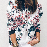 Floral Print Zipper Casual Jacket