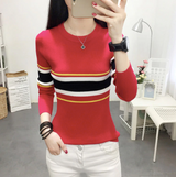 Slim O-Neck Striped Sweaters