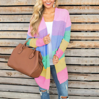 Rainbow Striped Long Cardigans