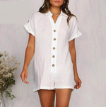 Load image into Gallery viewer, Vintage Loose Jumpsuit V Neck Short Sleeves Pockets