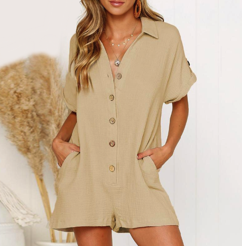 Vintage Loose Jumpsuit V Neck Short Sleeves Pockets