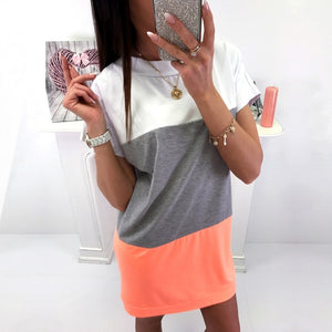 Straight Loose Short Sleeve Mini Dresses