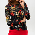 Load image into Gallery viewer, Chiffon Blouses O Neck Flare Long Sleeve Flower Printed