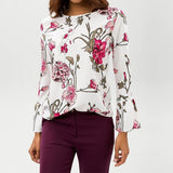 Chiffon Blouses O Neck Flare Long Sleeve Flower Printed