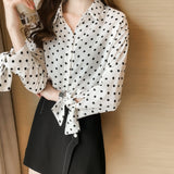 Lace Up Sleeve Polka Dot Blouse
