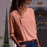 Button Lead Long Sleeve Blouse