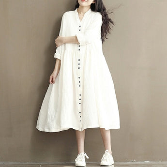 Stand Collar Cotton Linen Full Sleeve Loose Dress